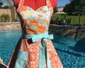 Heirloom Sassy Apron, Kitchen Apron, Womens Misses and Plus Sizes, Holiday Apron, Joel Dewberry Notting Hill