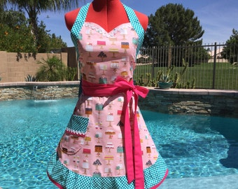 Sweet Cakes Sassy Apron with Ruffle, Womens Misses and Plus Sizes, Sweetheart Apron, Lolita Apron, Kitchen Apron,  Michael Miller Bake Shop