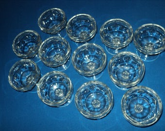 Vintage Set of 12 Clear Glass Sherbert Dishes All The Same