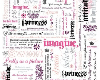 Princess Word Play- ADORNit- Cotton Fabric- Words- Gray-Pink-White- Quilt- Apparel Fabric