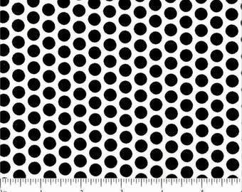 Polka Dots - Black on White - 100% Cotton Fabric - By the yard and half yard- Lots of Dots - by Choice- Quilt Weight.
