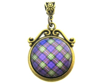 Scottish Tartan Jewelry - Ancient Romance Series - CHOICE OF ONE Bonnie Heather Bruce Hunting Forrester Ornate Scroll Pendant w/Celtic Bail