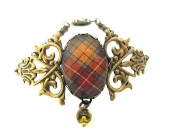 Scottish Tartan Jewelry - Ancient Romance Series - Buchanan Old Sett Weathered Filigree Half Double Bracelet w/Topaz Czech Crystal Bead