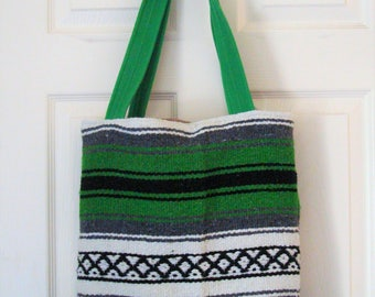 Green, Black, & White   Serape Bag Tote with Magnetic Clasp   Made in the USA 16 X 16 X 3