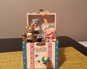 Vintage Toy Box Music Box Moving Miniature Wood Toys Nursery Baby Shower Gift