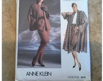 Vogue 1915 Anne Klein Coat Dress Designer Sewing Pattern SZ 8-10-12 New Uncut