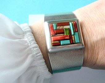 Carolyn Pollack Relios Sterling Silver and Multi-Stone Cuff