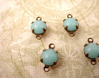 6 Vintage Light Blue Calcedon Round Japanese Glass Drop antique brass ox connector  Charms 7mm