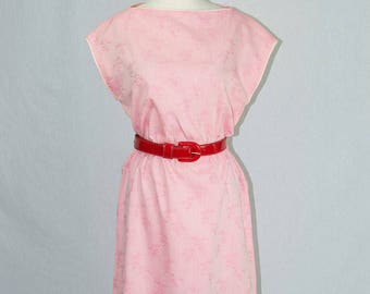 Vintage 80s Pink Day Dress with Pretty Novelty Bamboo Print New Wave Valley Girl