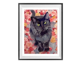 Modern Black Cat Prints Black kitty Watercolor paintings Black cat illustration Black kitten drawings Cat lovers Watercolour print LaBerge N