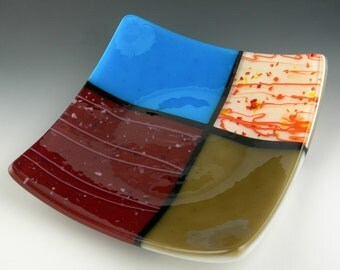 Bright Colorful Square Fused Glass Sushi Plate Dish in Turquoise Blue Cranberry Brown Orange Black Ivory