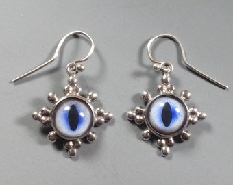 Intriguing Cat Eye and Sterling Silver Earrings made with Blue Taxidermy Cat Eyes