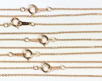 Rosegold filled 14k, minimalist chain, bridesmaid gift, Rose gold, 1 mm fine cable, 18 inches, spring clasp, sturdy construction, 5 pack