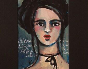 Portrait Study #6 - Original Portrait Painting with Black Mat