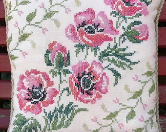 Vintage Pink Floral Hand Embroidery Cross Stitch Decorative Pillow