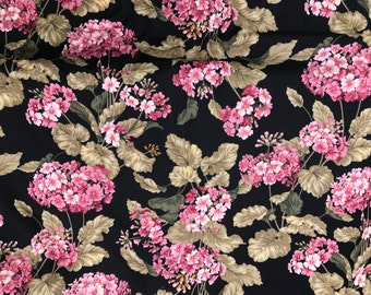 6 Yards of Hobby Lobby Black with Pink Floral Print Cotton Fabric