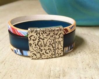 Leather and silver bracelet | Women bracelet | Women's leather and silver bracelet | Leather cuff | Wrap bracelet | Gift for her