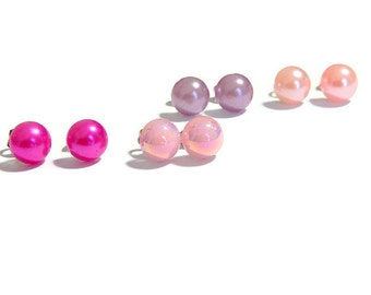 Pearly Stud Earrings, Shades of Pink Set of Four, Metallic Sheen Domed Earrings