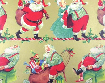 Vintage Gold Christmas Wrapping Paper or Gift Wrap with Jolly Santa Claus Mrs Claus Sack of Toys