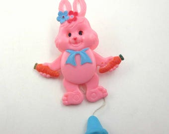 Vintage Easter Articulated Movable Pink Rabbit Pin or Brooch Holding Carrots