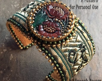RECENTLY UPDATED - Bead Tutorial Steampunk Brocade Beaded Bracelet pattern instructions by Hannah Rosner