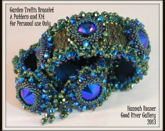 NEWLY RELEASED Bead Tutorial Garden Trellis Beaded Bracelet peyote stitch pattern instructions by Hannah Rosner
