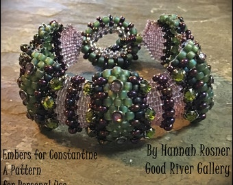 JUST RELEASED Beading Tutorial Embers for Constantine Beaded Bracelet odd count peyote stitch pattern instructions by Hannah Rosner