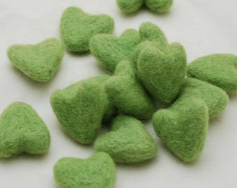 3cm 100% Wool Felt Hearts - 10 Count - Grass Green