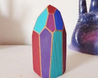 Jewel Tone Wooden Crystal Sculpture Small Unique Art Office Art Desk Art Objet D'art Boho Sculpture Faceted Geometric Colorful Art