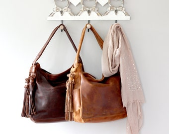Leather Handbag, Hobo, Tote, Purse with Tassels
