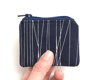 dark navy small jewelry case travel. zipper change purse. ear bud pouch. pill case. safety pin case. memory card holder. party favor