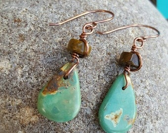 Genuine Turquoise Earrings - Copper - Tiger Eye - Western Jewelry - Cowgirl Earrings - Rustic Jewelry by Heart of a Cowgirl
