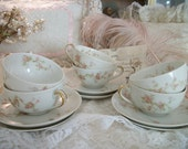 theodore haviland 5 antique haviland limoges teacup and saucer sets, fine french china, france, pink spray pattern, romantic french cottage