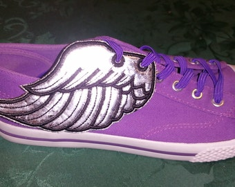 Angel shoe wings, metallic or glitter  fabric with black detail and outline stitching customizable