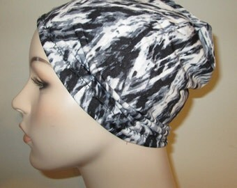Chemo Hat Lycra  Black Gray White Print Beanie Play Sleep Cap, Cancer Hat, Alopecia
