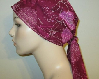 Burgundy and Pink Peonies  Chemo Hat, Cancer Scarf, Surgical Scrub Hat, Turban, Hair Loss Free Ship USA