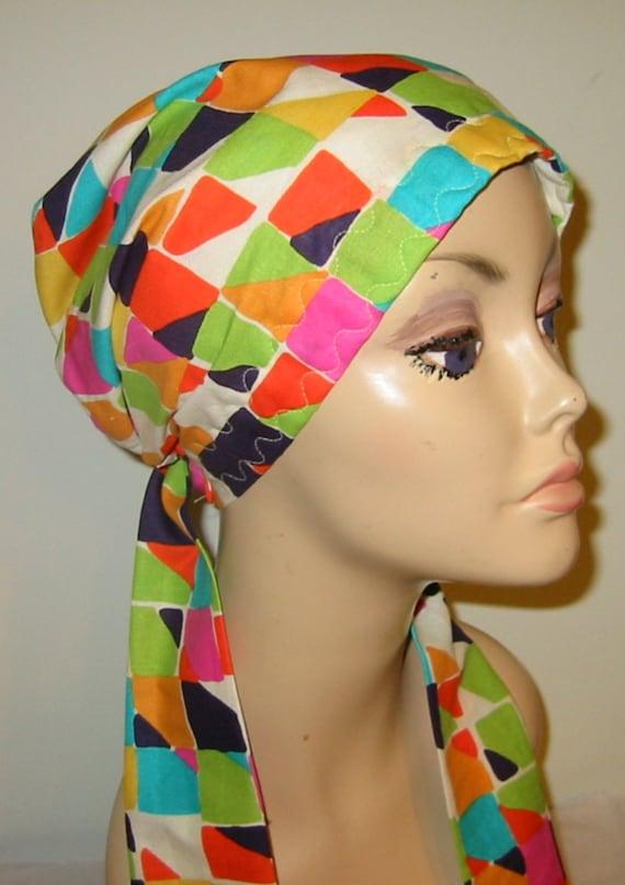 Colorblock   Chemo Scarf, Hat, Cancer Hat, Hijab, Alopecia Ship Free USA