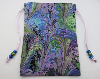 Multi Swirls Lavender Silk Lined Tarot Bag, Tarot Pouch, Handmade 5 x 7