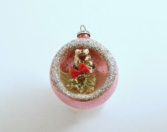 Vintage Christmas Ornament Pink Glass Ornament Scenic Bottle Brush Tree