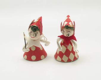 Vintage Christmas Ornaments Spun Cotton Elf Decoration