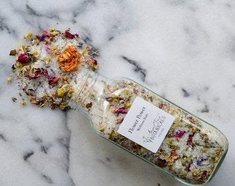 SALE - Flower Power Organic Bath Salts - Feminine Wellness Bath  Infused with Reiki - Vegan and Fabulous - Bathe in Flowers 15 oz