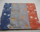 Whales You Are My Sunshine Navy Oange Gray Minky Baby Burp Cloth Quick Wipe 9 x 10 READY TO SHIP On Sale