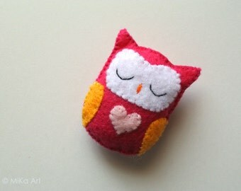 Owl Accessory Cute Owl Gift for Her Felt Owl Brooch Owl Pin Pink Fashion Accessory Owl Stuffed Animal Cute Plush Owl Gift Kids Jewelry MiKa