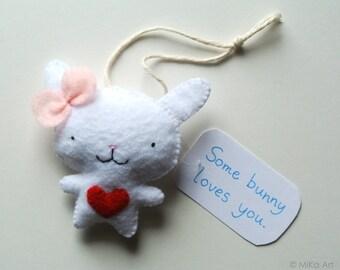 Bunny Rabbit Ornament Bunny Rabbit Wall Hanging Felt Bunny Cute Bunny Rabbit Home Easter Rabbit Decor Handmade Baby Shower Gift Felt Animal