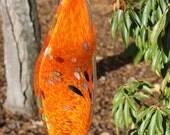 Mandarin Orange Glass Leaf Garden Art Sculpture Outdoor Decoration Garden Finial