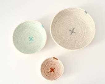 Nesting cotton rope bowls for a baby room decor, as an entryway key bowls or jewellery storage.