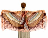Wings Scarf, Womens Wrap, Oversized Shawl, Feather Print Wrap, Unique Scarf, Bohemian Shawl, Boho Wrap, Rustic Shawl, Silk Shawl