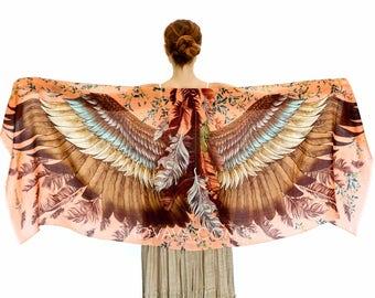 Wings Scarf, Womens Wrap, Oversized Shawl, Feather Print Wrap, Unique Scarf, Bohemian Shawl, Boho Wrap, Rustic Shawl, Silk Shawl