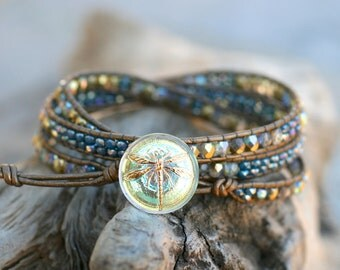 Beaded Leather Wrap Bracelet, Triple Wrap, Leather Bracelet, Gold and Purple Bracelet, Triple Wrap, Dragon Fly Bracelet, Czech Fire Beaded