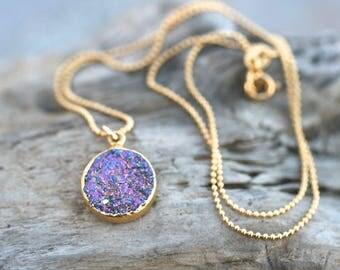 Purple Druzy Crystal Necklace, 14KT Gold Filled Necklace, Purple and Gold Necklace, Minimalist, Petite Pendant Necklace, Druzy Jewelry
